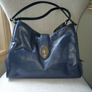 Coach Navy Blue Leather Bag